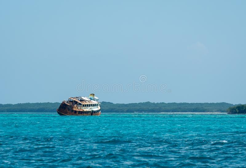 Shipwreck in Cozumel, from hurricane Wilma 2005 royalty free stock photos