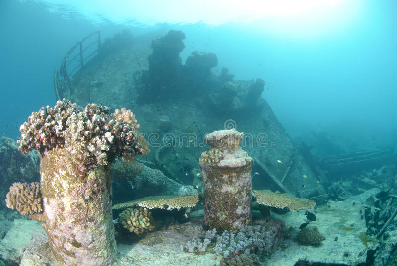 Download Shipwreck in shallow water stock image. Image of tropical - 16600545