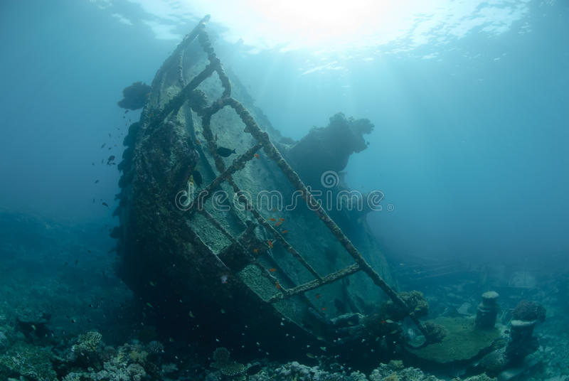 Download Shipwreck in shallow water stock image. Image of broken - 16635955