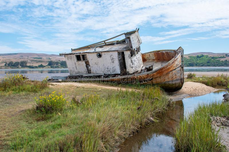 The famous Point Reyes shipwreck royalty free stock photo