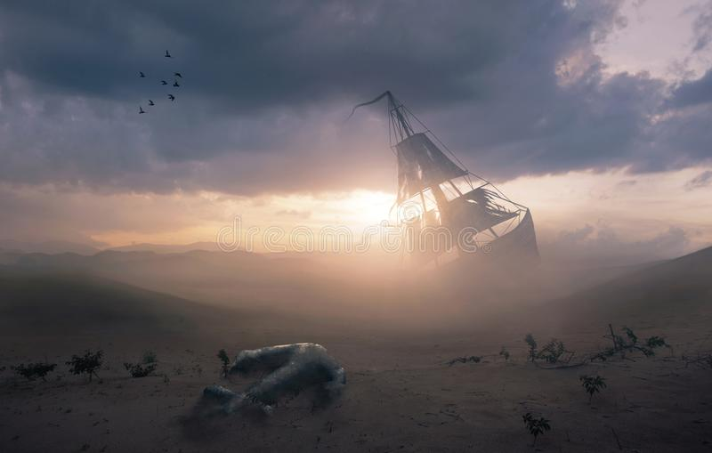 Shipwreck w pustyni obraz royalty free