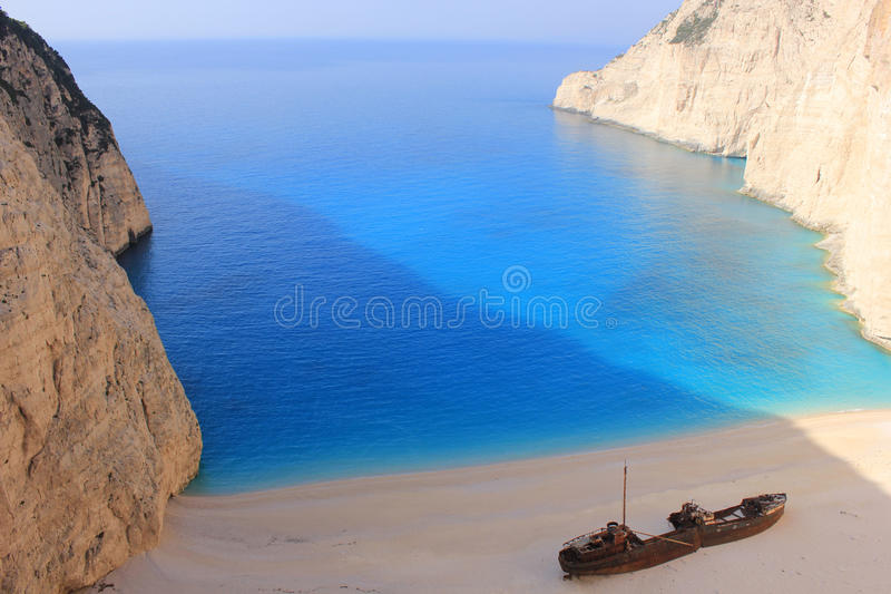 SHIPWRECK at Zante, Greece royalty free stock photos