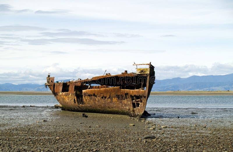 Shipwresk oxidado imagens de stock
