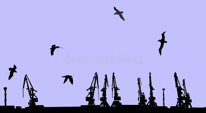 Shipyard. Vector silhouette shipyard on blue background stock illustration