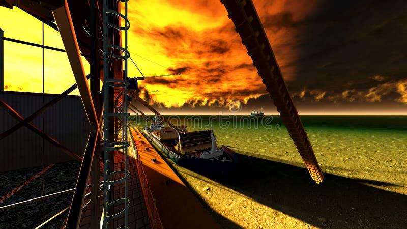 Shipyard. The shipyard at awesome sunset royalty free illustration
