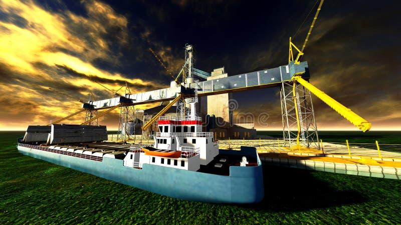 Shipyard. The shipyard at awesome sunset vector illustration