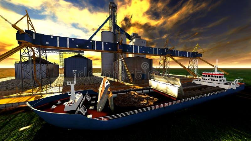 Shipyard. The shipyard at awesome sunset stock illustration