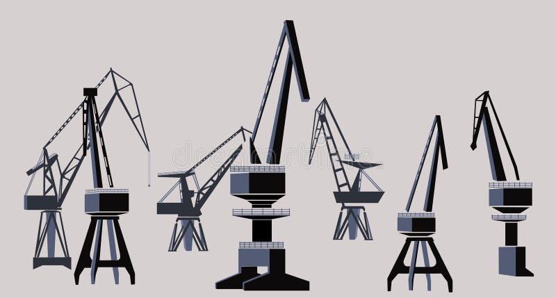 Shipyard. Group of cranes, Illustration vector illustration