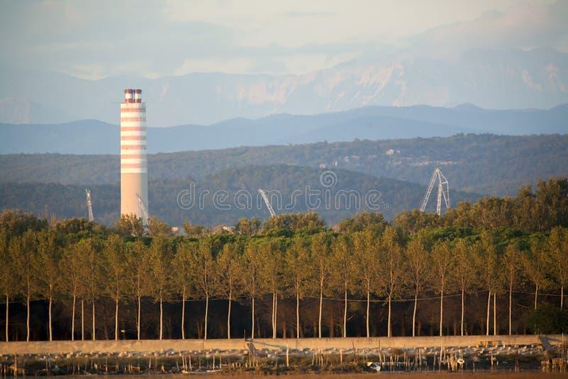 Shipyard with big chimney royalty free stock photos