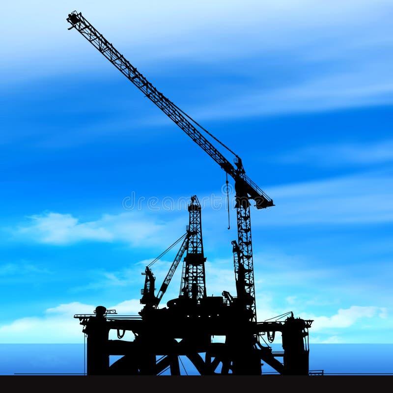 Shipyard on blue sky background. Illustration stock illustration