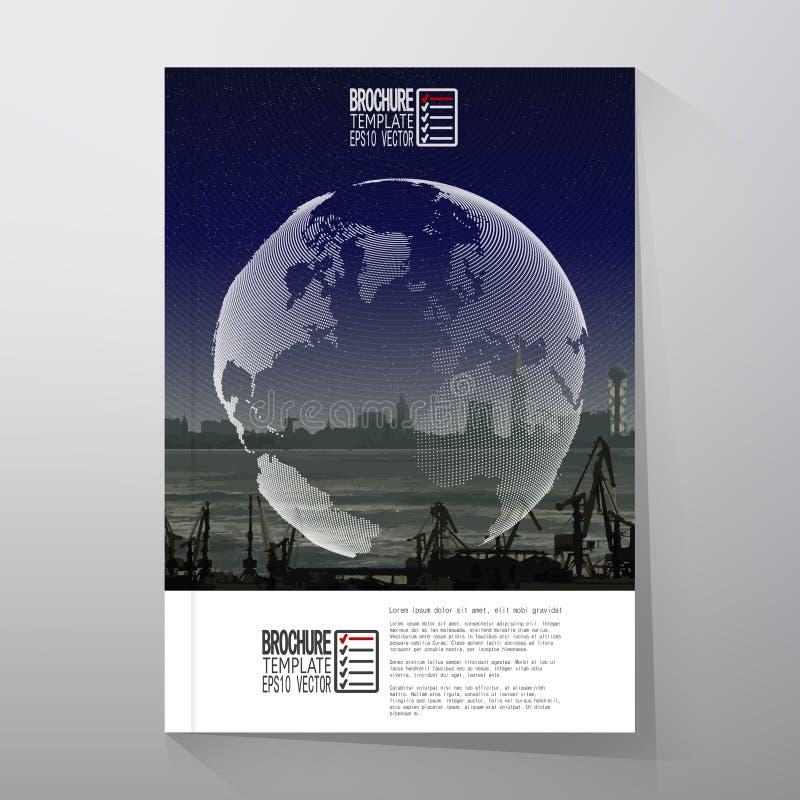 Shipyard and city landscape, night design, world stock illustration