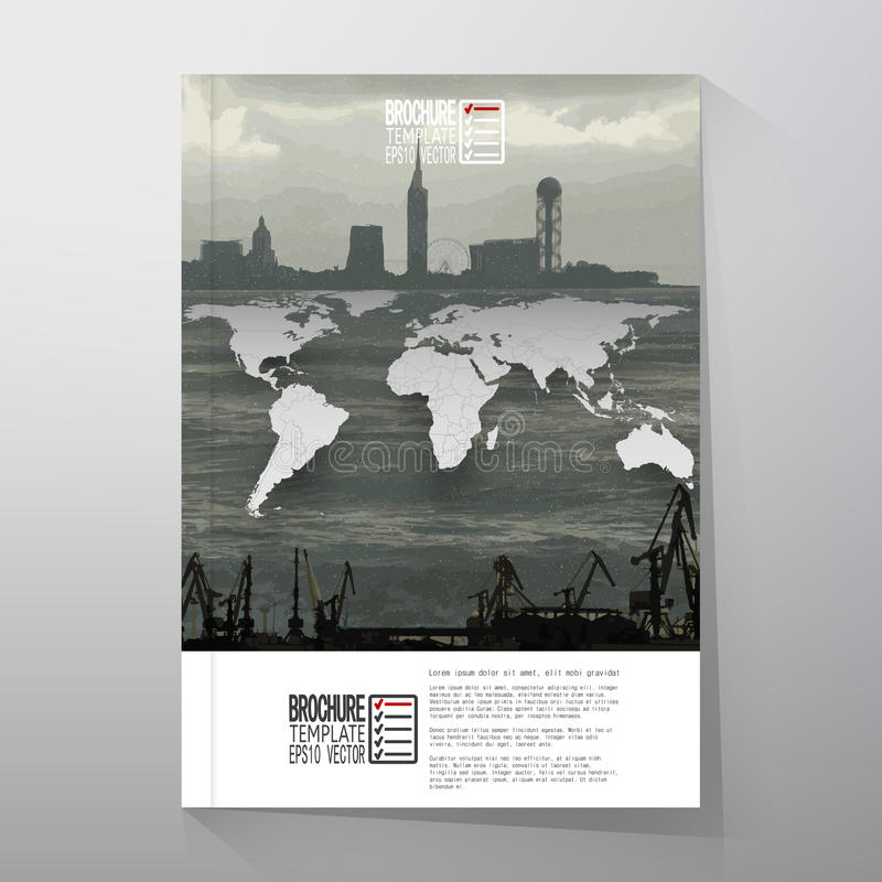 Shipyard and city landscape, world map vector. Brochure, flyer or report for business, templates vector vector illustration