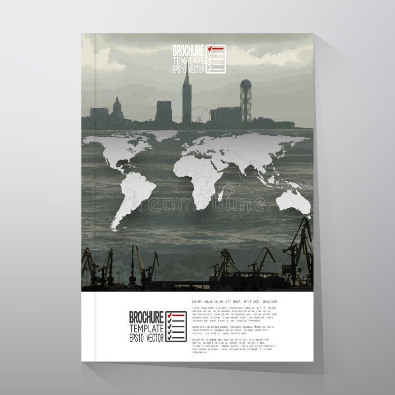 Shipyard and city landscape, world map vector vector illustration
