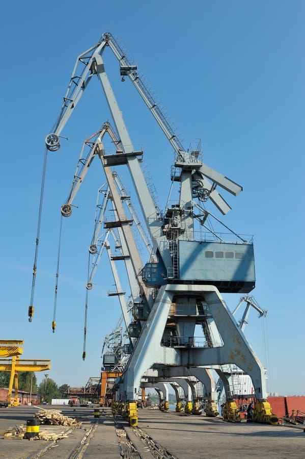 Shipyard in galati, romania. Big cranes in the shipyard of Galati, Romania royalty free stock photos
