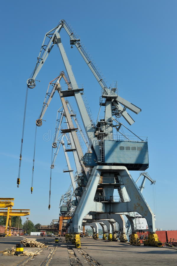 Shipyard in galati, romania. Big cranes in the shipyard from Galati,Romania royalty free stock photography