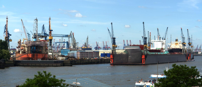 Shipyard in Hamburg harbor stock image