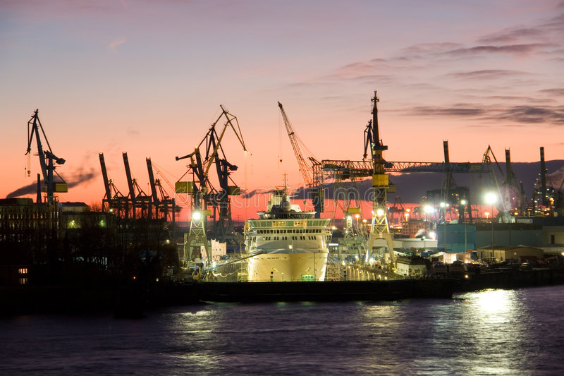 Shipyard in Hamburg harbor royalty free stock photo
