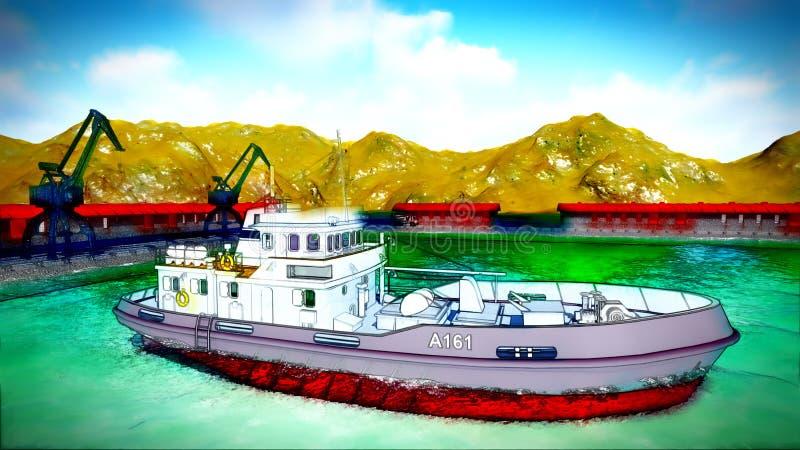 Shipyard. Illustration showing ship and cranes vector illustration