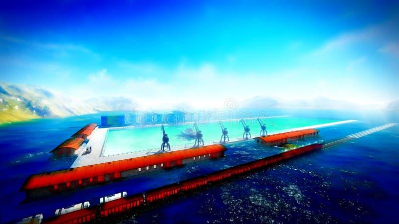 Shipyard. Illustration showing ship and cranes stock illustration