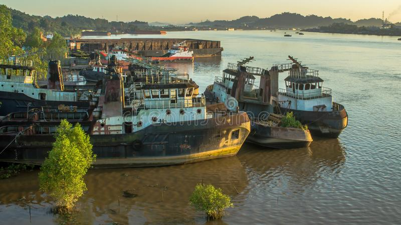 shipyard on Mahakam riverbank, Borneo, Indonesia stock photo