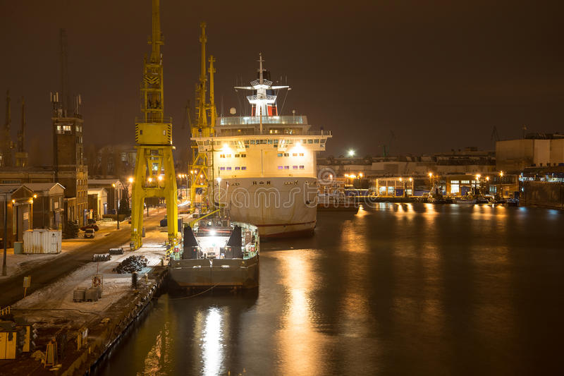 Download Shipyard at night stock photo. Image of cranes, night - 36988416