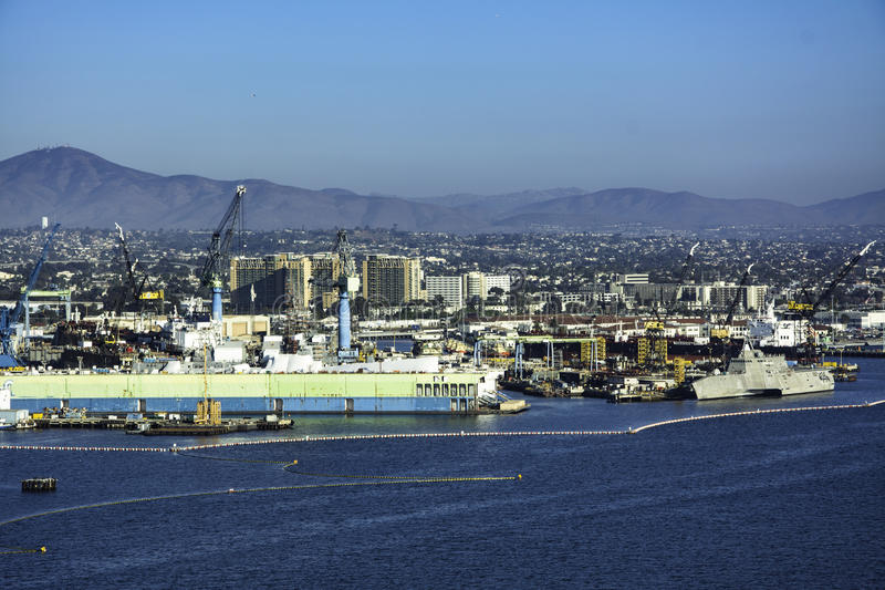 Shipyard in San Diego,California Bay stock photography