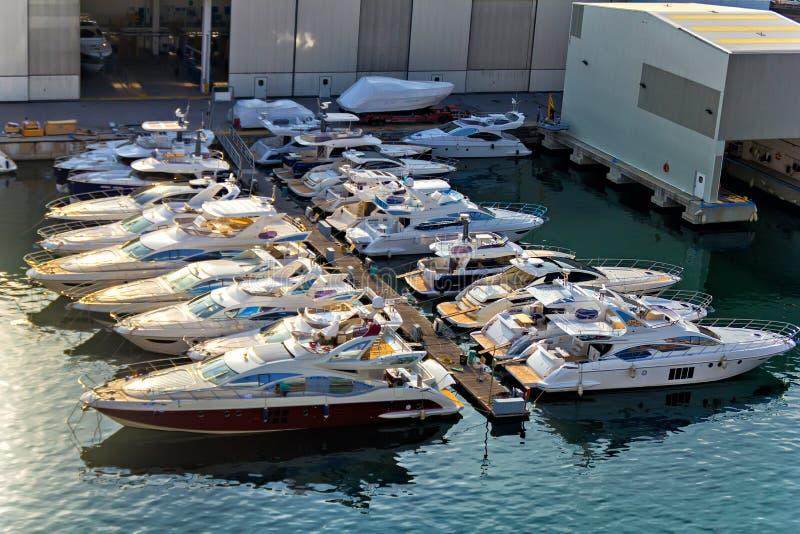Shipyard of Savona. Many yachts at the shipyard of Savona stock image