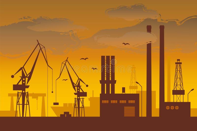 Shipyard. Ship in the shipyard at dusk vector illustration