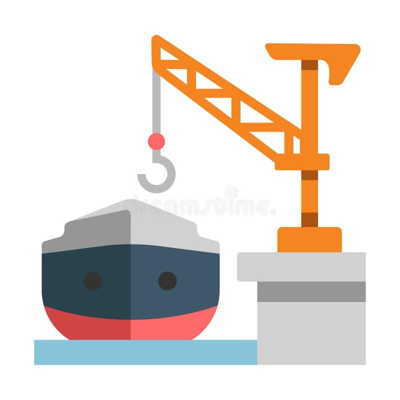 Shipyard flat illustration. Shipyard with a ship vector illustration in flat color design stock illustration