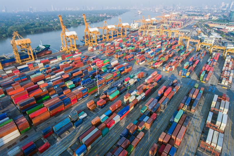 Shipyard with shipping containers aerial view stock photos