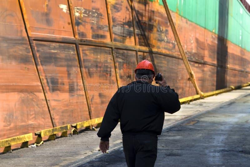 Shipyard worker stock photo