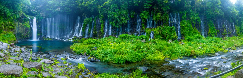 Shiraito wody spadku panorama zdjęcie royalty free