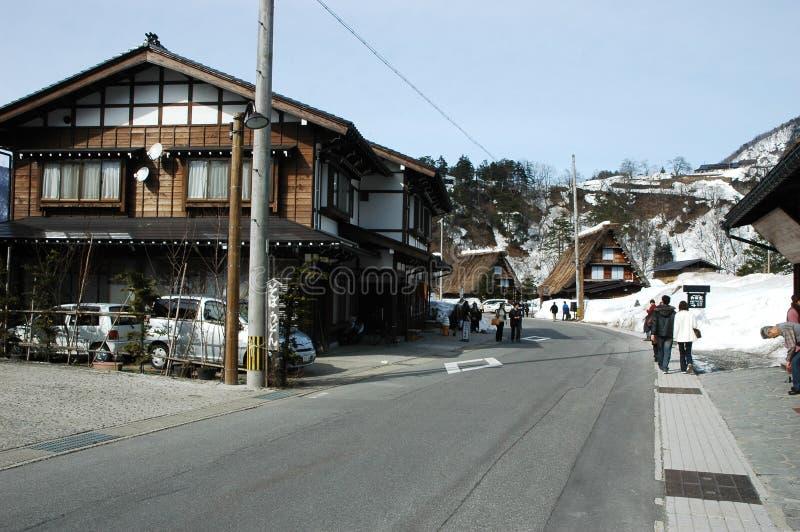 Shirakawa-allez au Japon pendant la saison d'hiver photo libre de droits