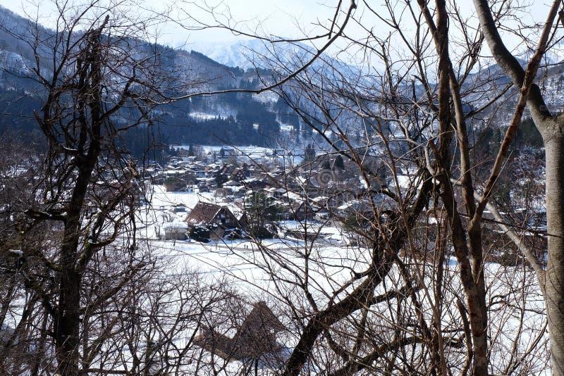 Shirakawa-ga in de winter, Japan stock afbeeldingen