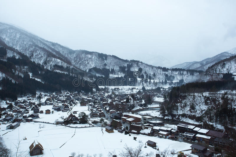Shirakawa-go The Historic Village. Shirakawa-go village composed of gassho-kuzuri style farmhouses. The gassho-kuzuri, is steeply slanting roof that withstands stock photography