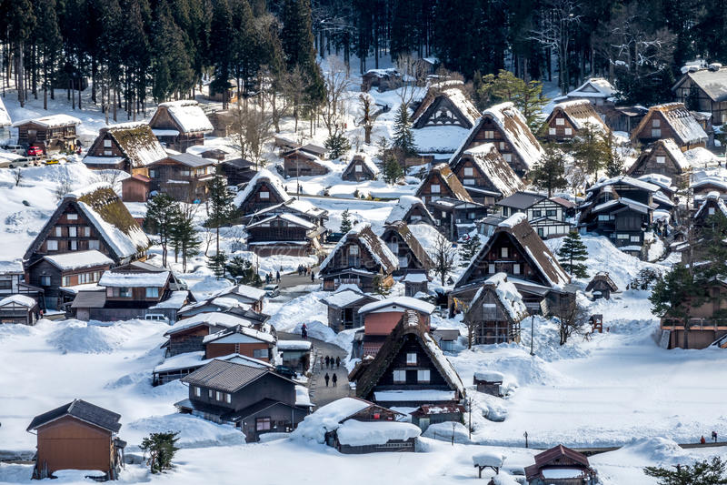Shirakawa-go UNESCO national heritage village royalty free stock image