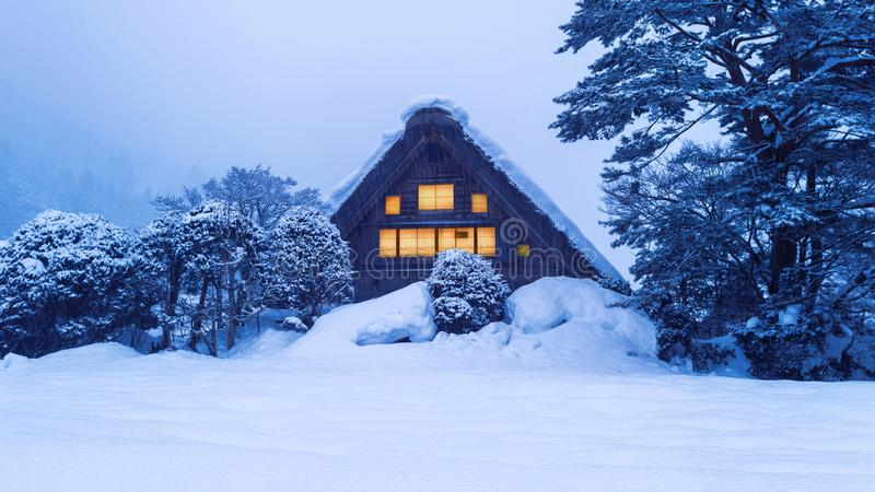 Shirakawa-go village in winter, UNESCO world heritage sites, Japan.  stock image