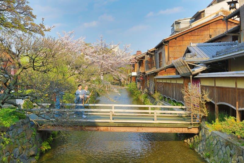 Shirakawa-minami Dori i Kyoto, Japan royaltyfria foton