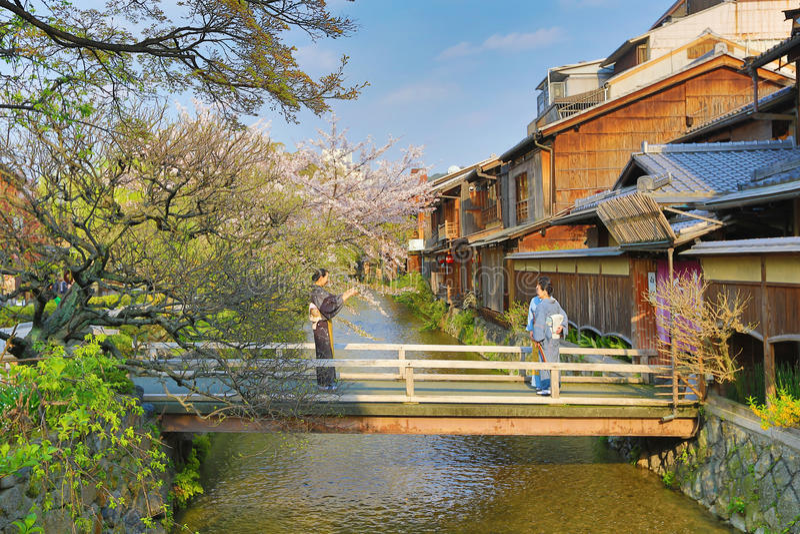 Shirakawa-Minami Dori in Kyoto, Japan royalty-vrije stock afbeelding