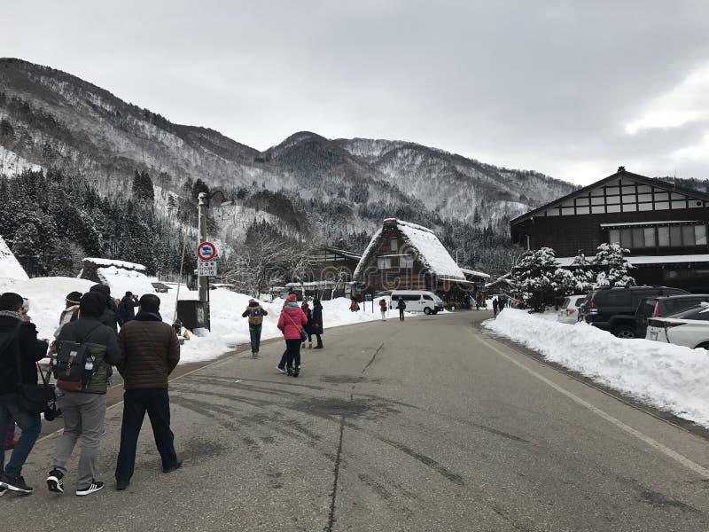 Shirakawa-va el pueblo durante nevar el invierno fotos de archivo libres de regalías