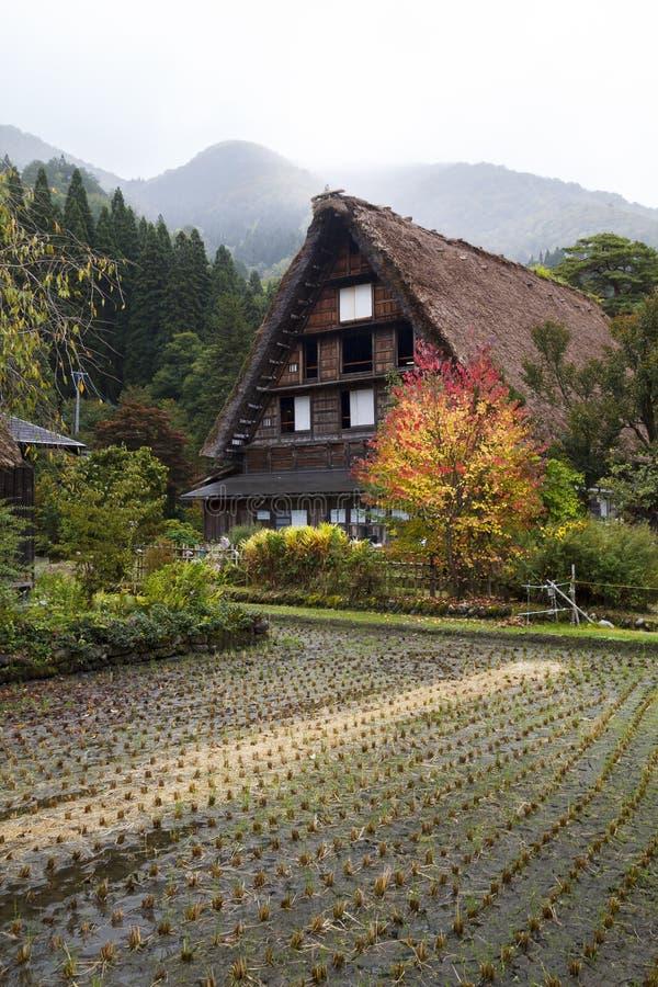 Shirakawa-va il villaggio nella prefettura di Gifu, Giappone fotografia stock libera da diritti