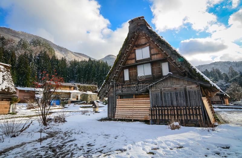 Shirakawa-vont le village à l'hiver à Gifu, Japon photos libres de droits