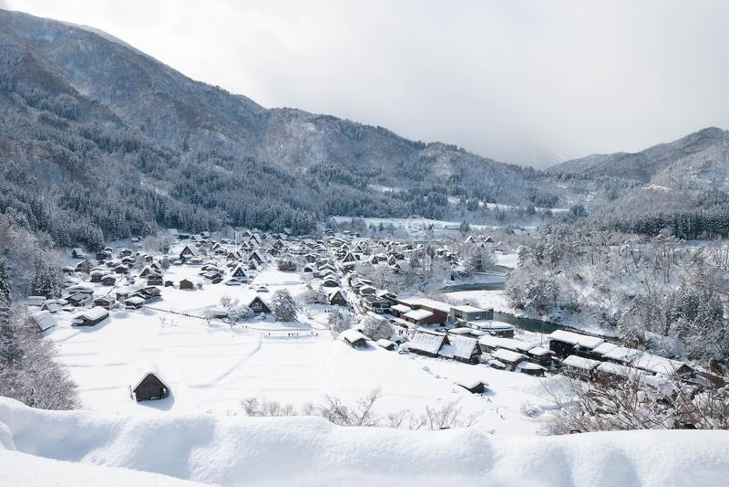 Shirakawa vont village en hiver, Shirakawa vont, le Japon photographie stock libre de droits