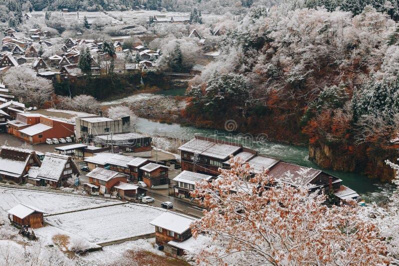 Shirakawa wioska w późny listopad jesieni zima sezon zdjęcia stock