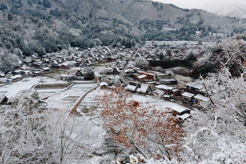 Shirakawa wioska w późny listopad jesieni zima sezon obrazy royalty free