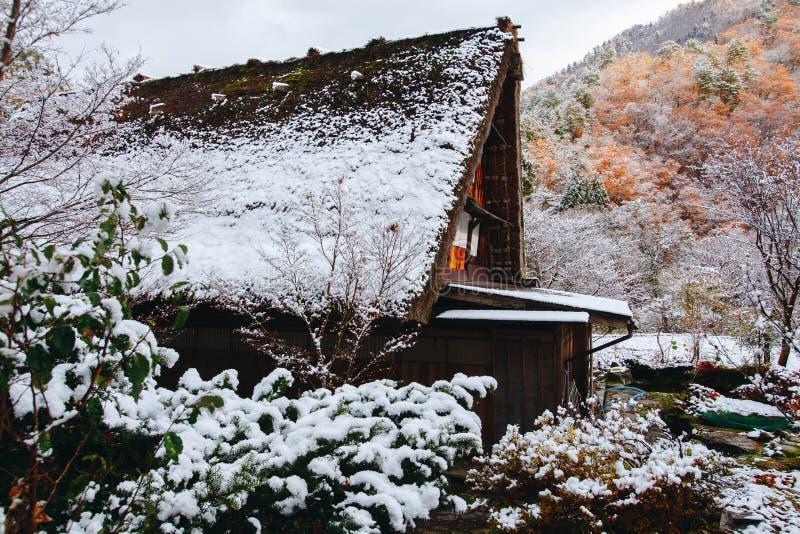 Shirakawa wioska w późny listopad jesieni zima sezon fotografia stock