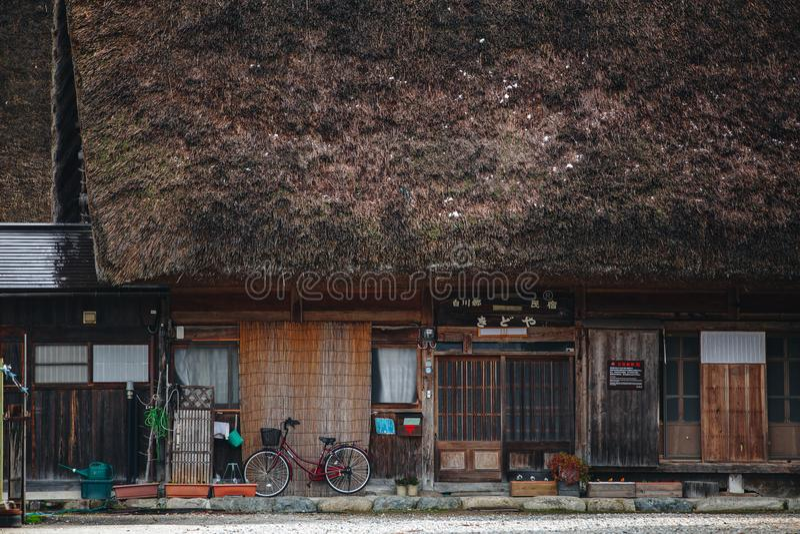 Shirakawa wioska w późny listopad jesieni zima sezon obraz royalty free