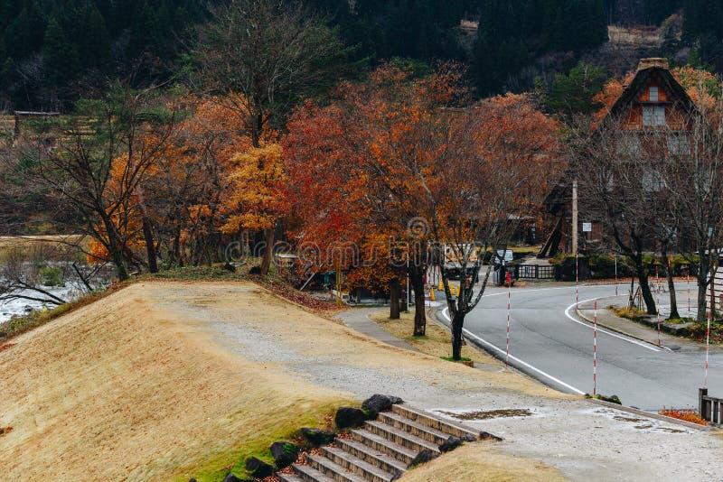 Shirakawa wioska w późny listopad jesieni zima sezon zdjęcie royalty free