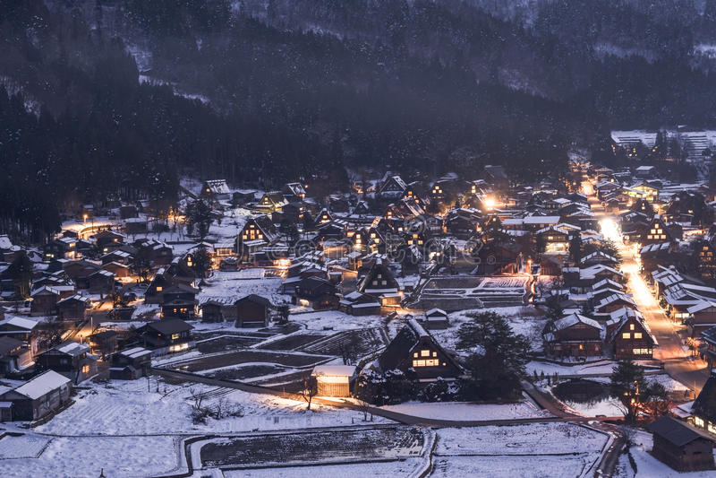 Shirakawago śniegu wioska obraz royalty free
