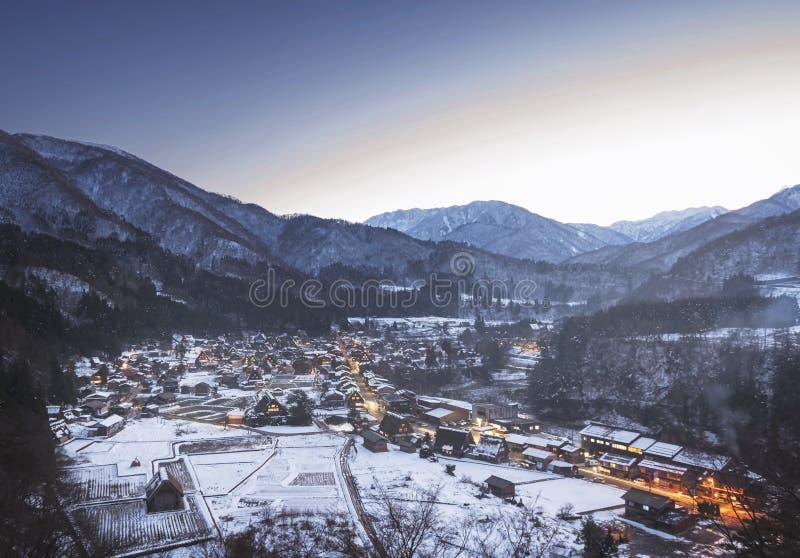 Shirakawago śniegu wioska obrazy royalty free